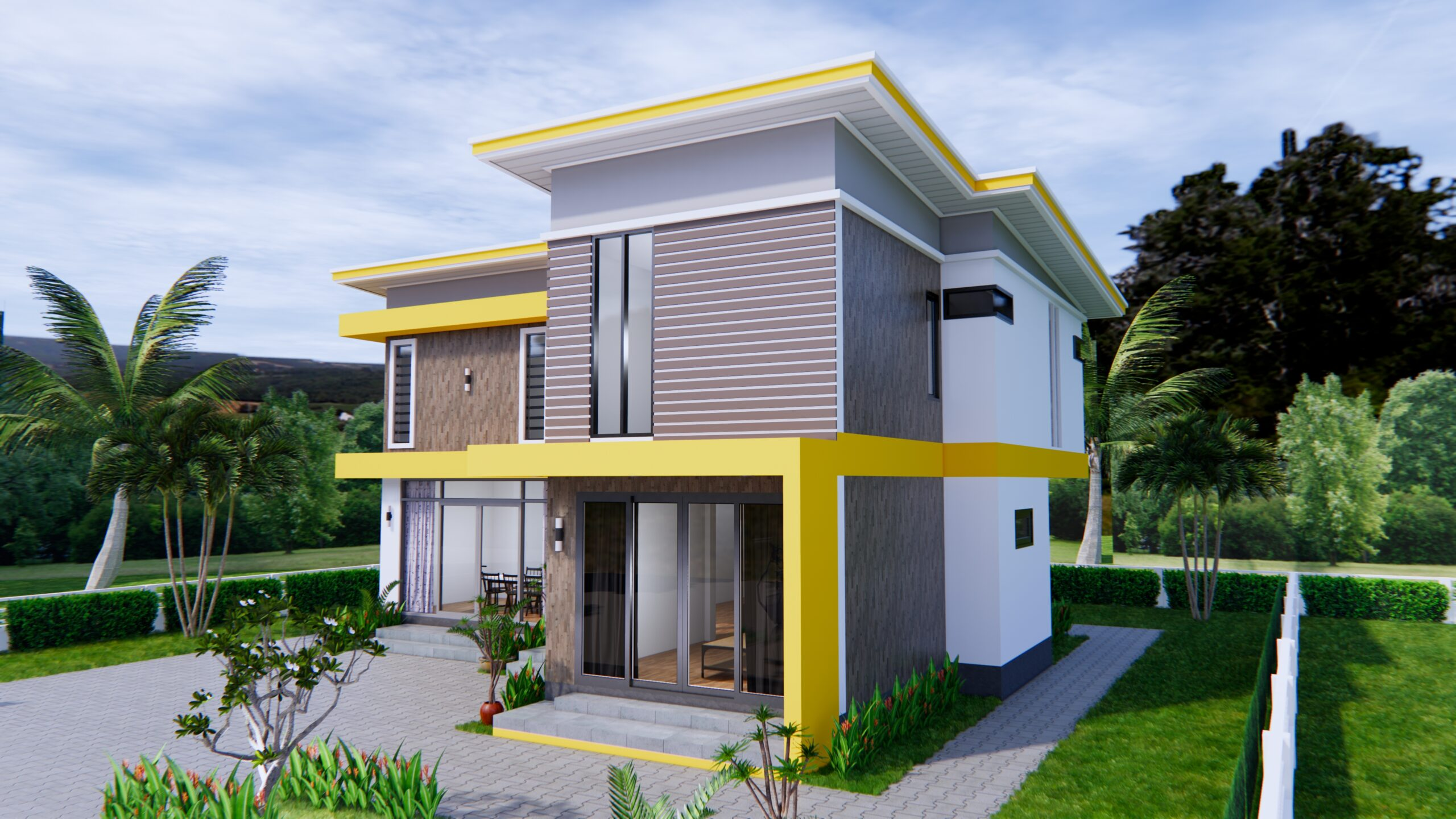 House Design 12.4x11 Meter 41x35 Feet 4 Beds 4