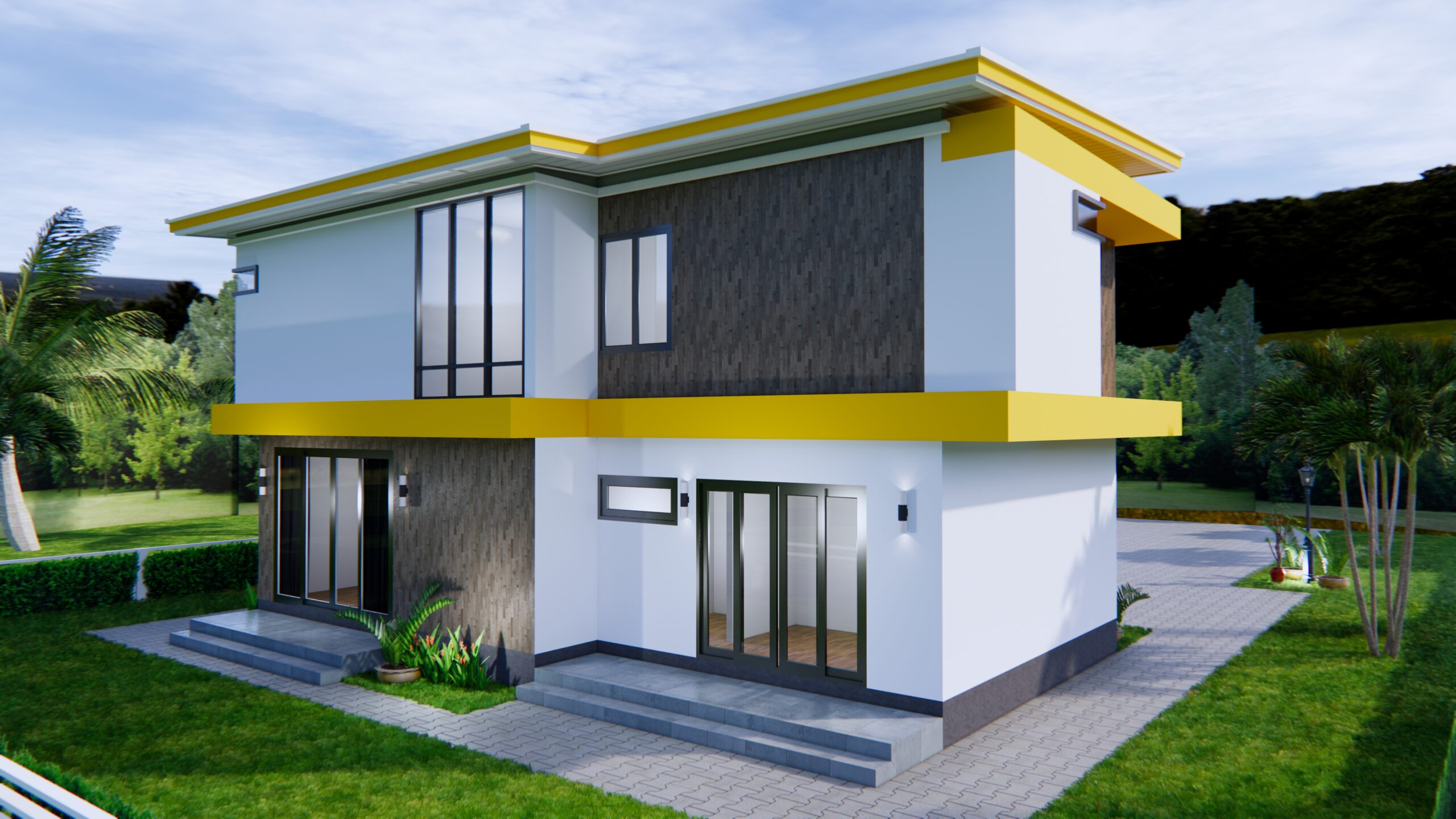 House Design 12.4x11 Meter 41x35 Feet 4 Beds 6