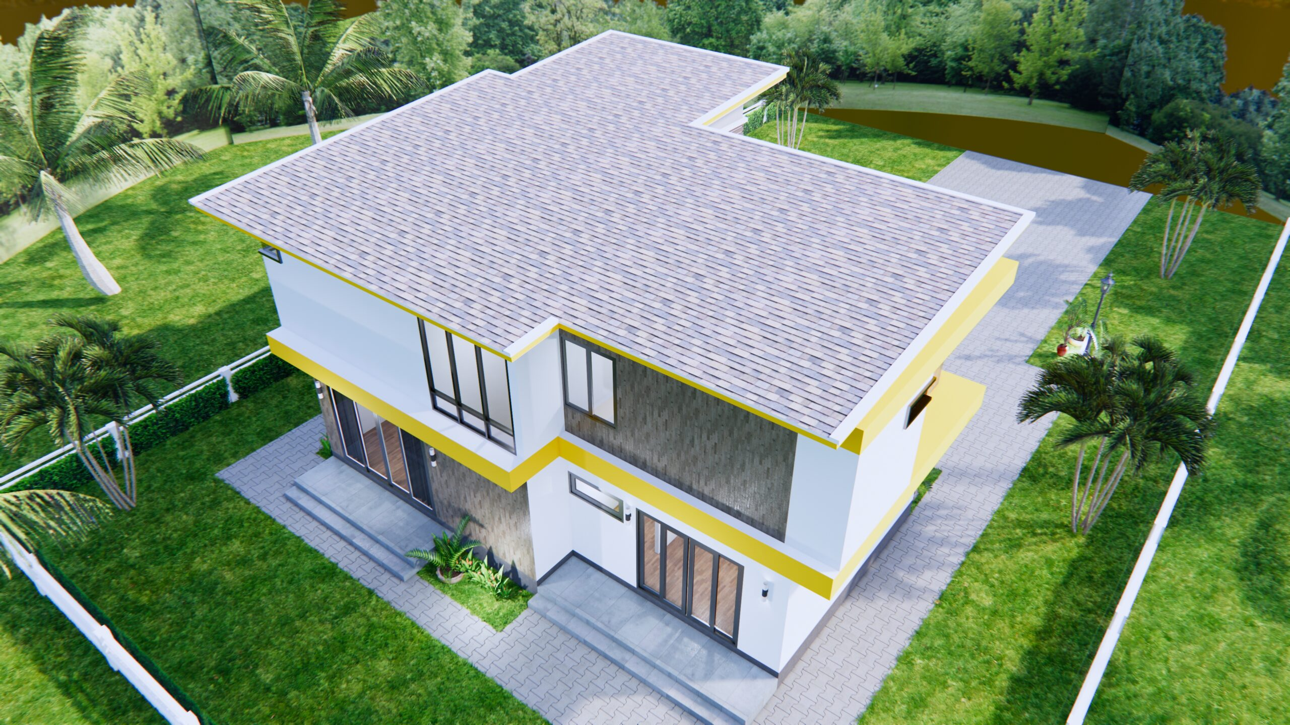 House Design 12.4x11 Meter 41x35 Feet 4 Beds 7