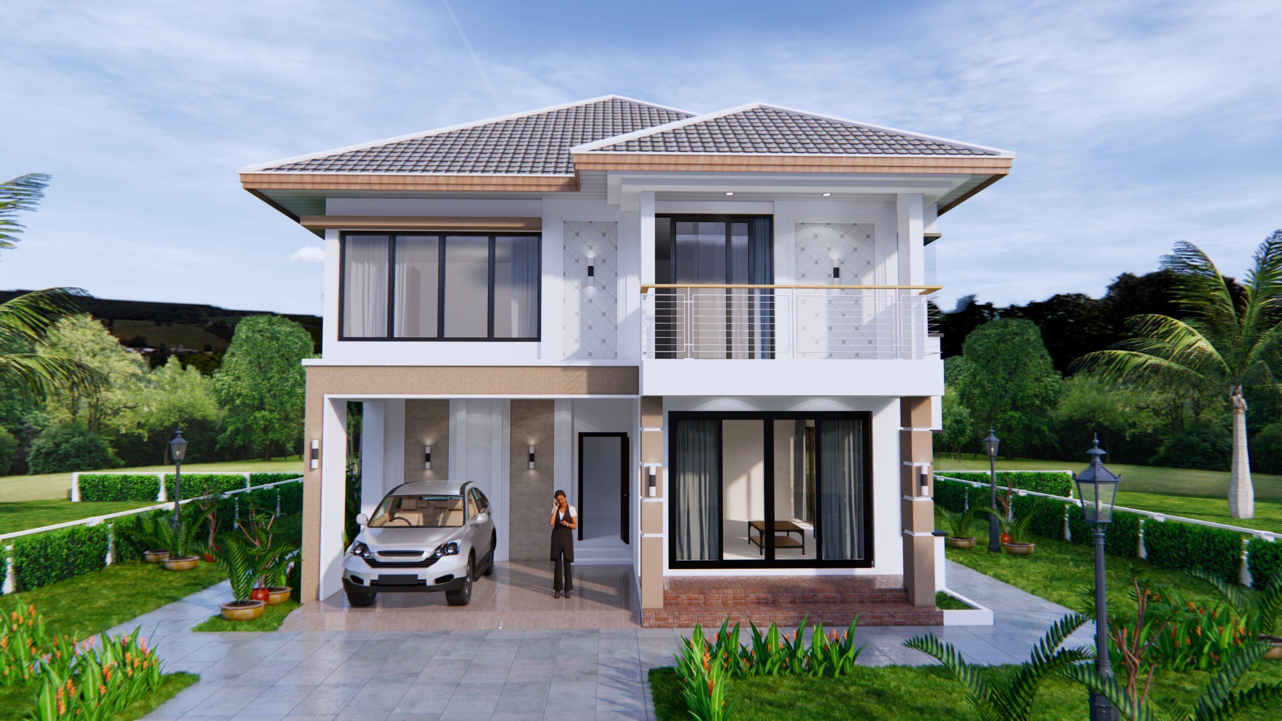 House Design 9x11 Meter 30x36 Feet 4 Beds 2