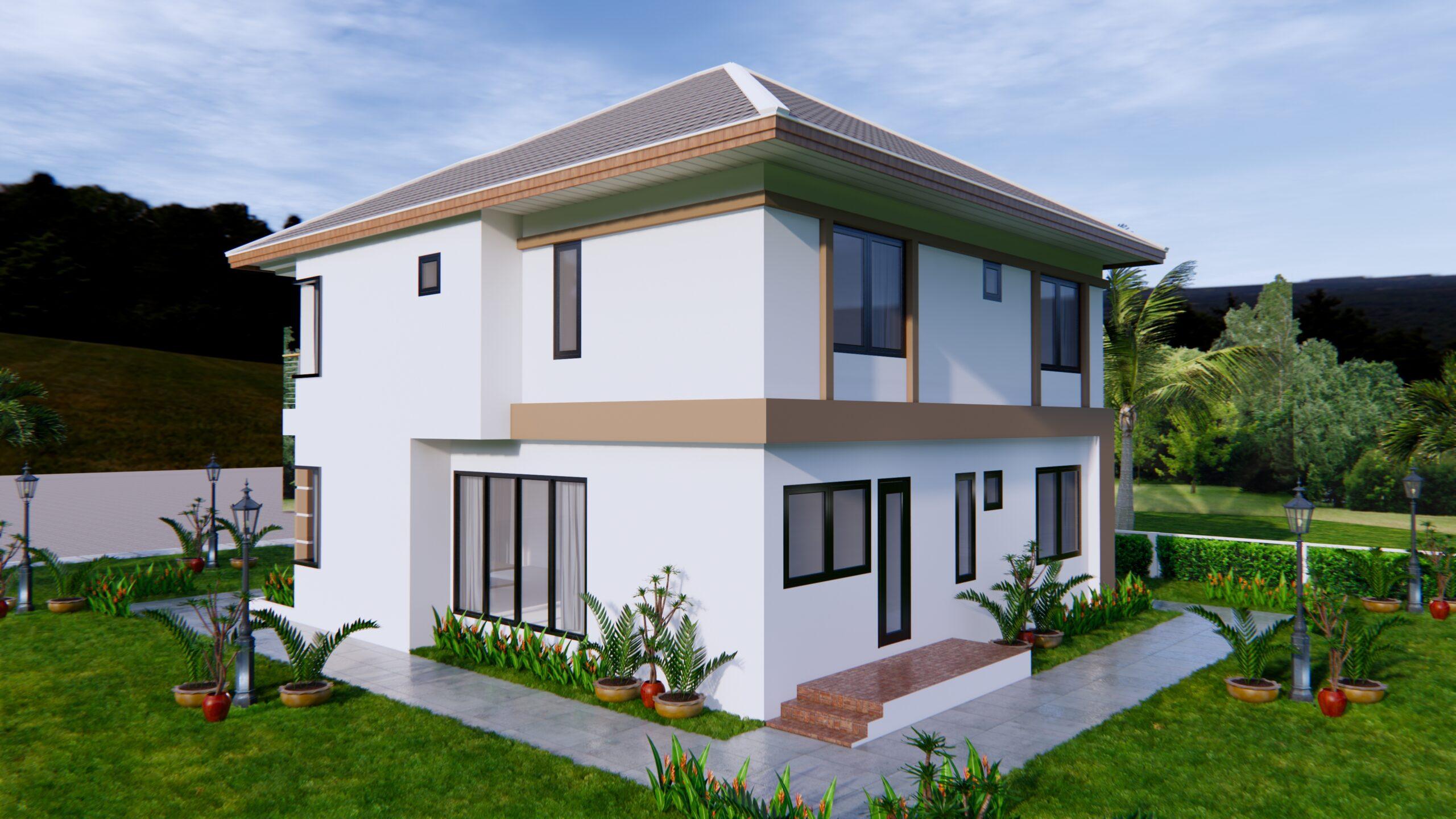 House Design 9x11 Meter 30x36 Feet 4 Beds 5