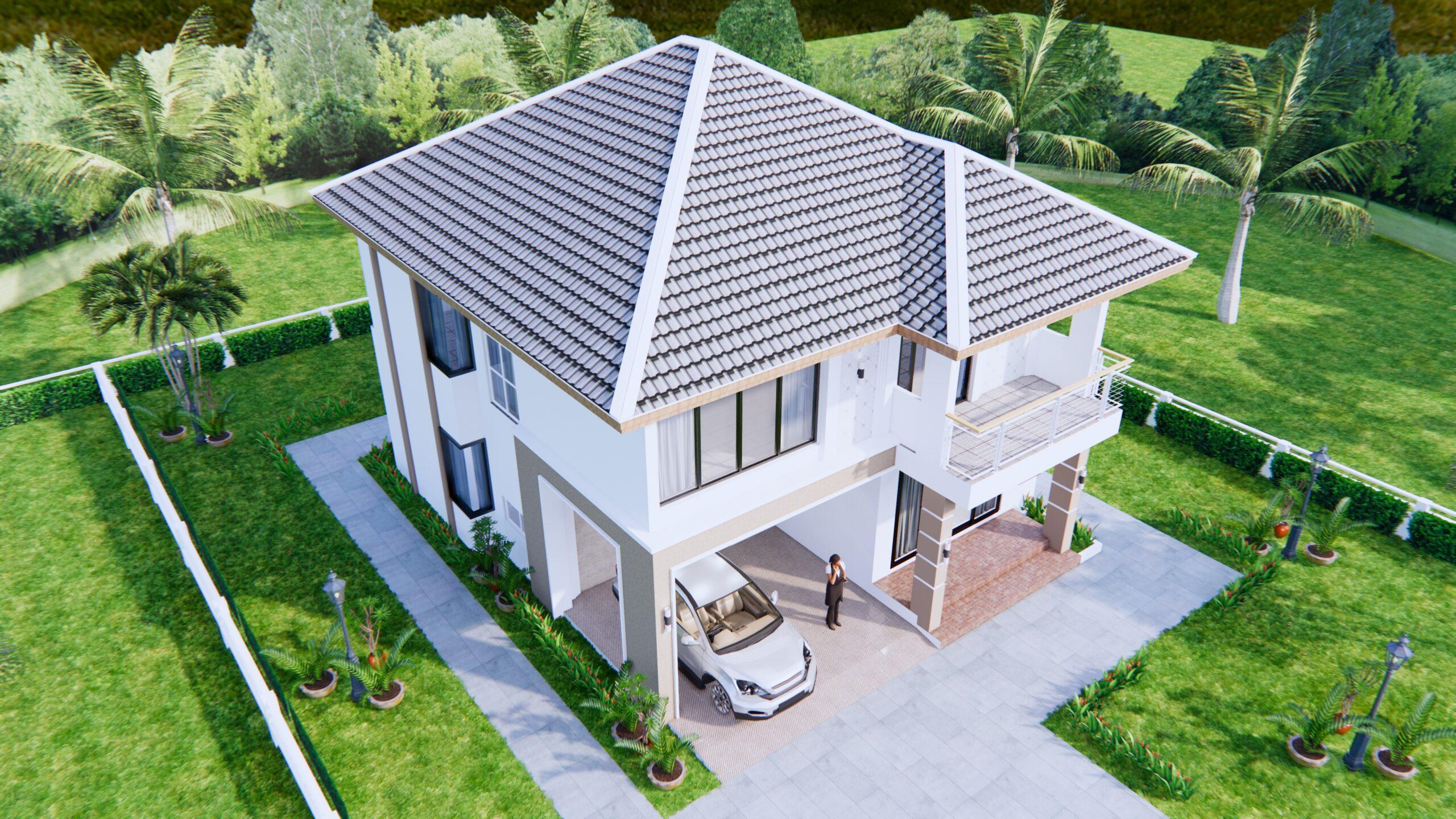 House Design 9x11 Meter 30x36 Feet 4 Beds 8