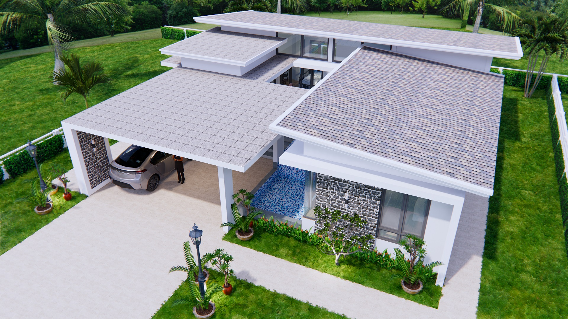 House Design with Pool 14x14 Meter 46x46 Feet 3 Beds 4