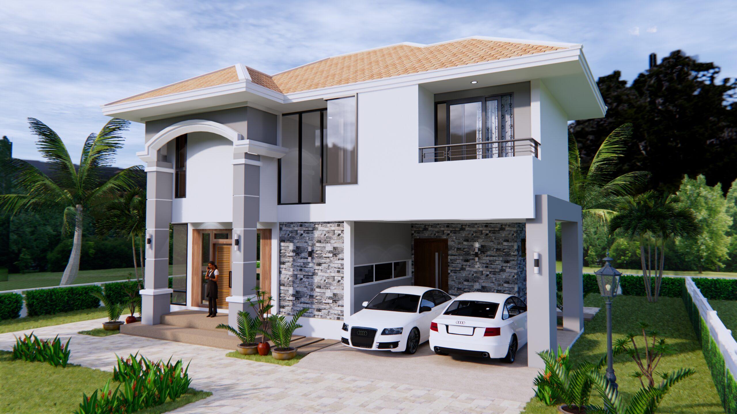House Plans 11x8 Meter 36x26 Feet 3 Beds 3