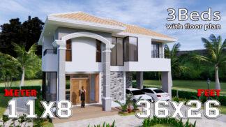 House Plans 11x8 Meter 36x26 Feet 3 Beds