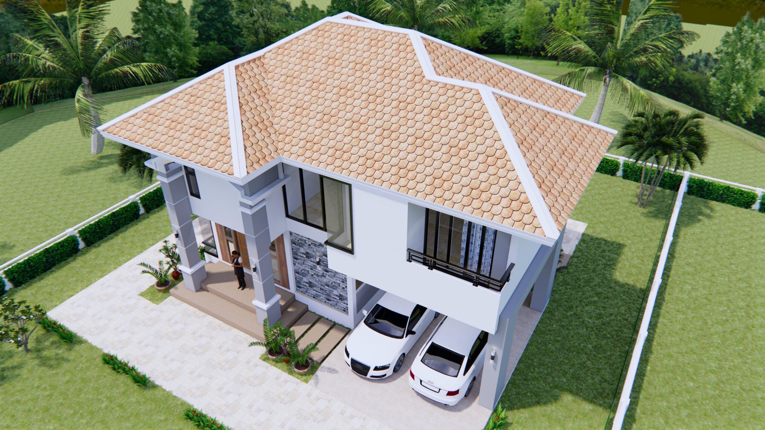 House Plans 11x8 Meter 36x26 Feet 3 Beds 4