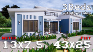 House Plans 13x7.5 Meter 43x25 Feet 3 Beds