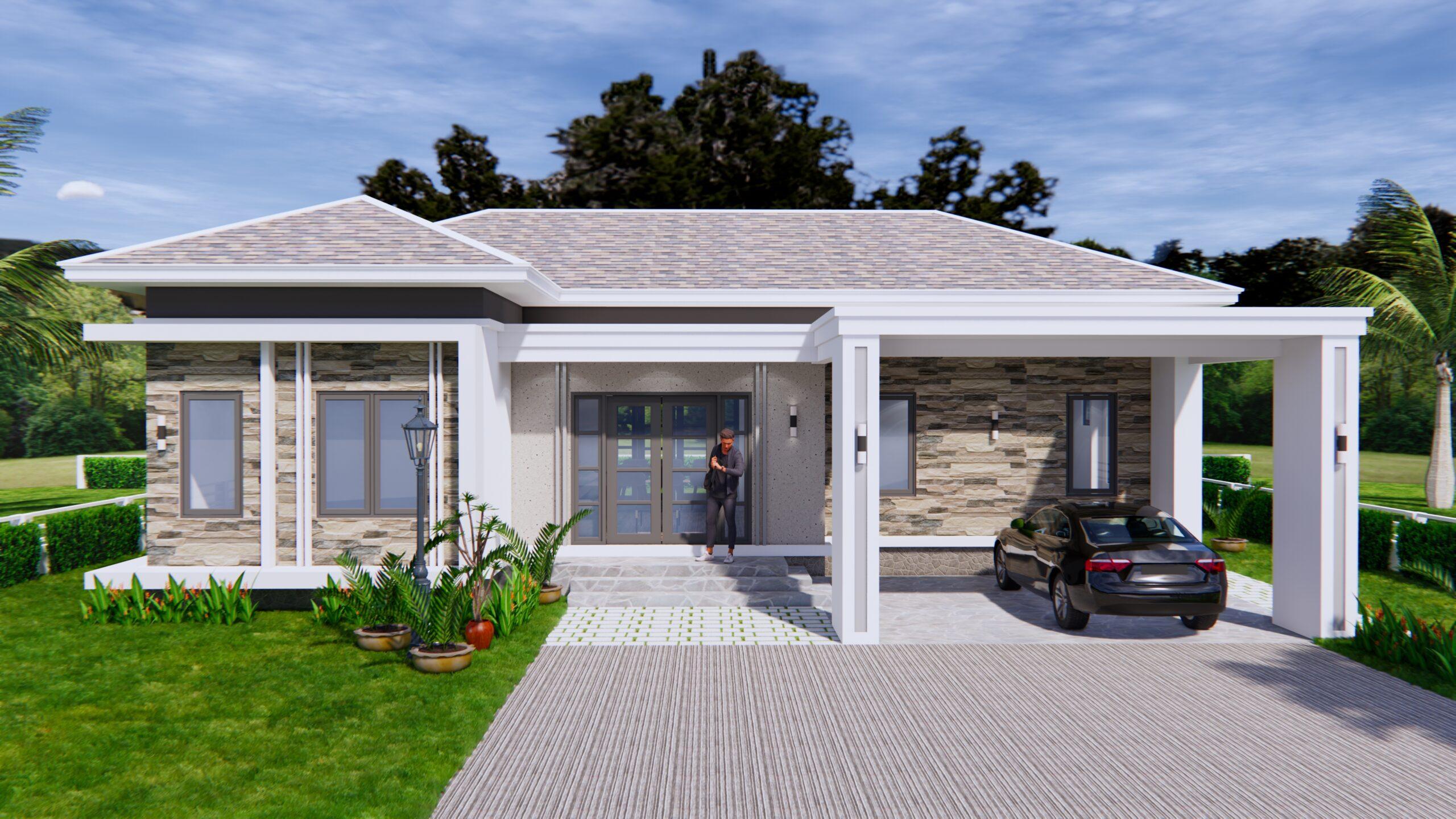 House Plans 14x11 Meter 46x36 Feet 3 Beds 1-2