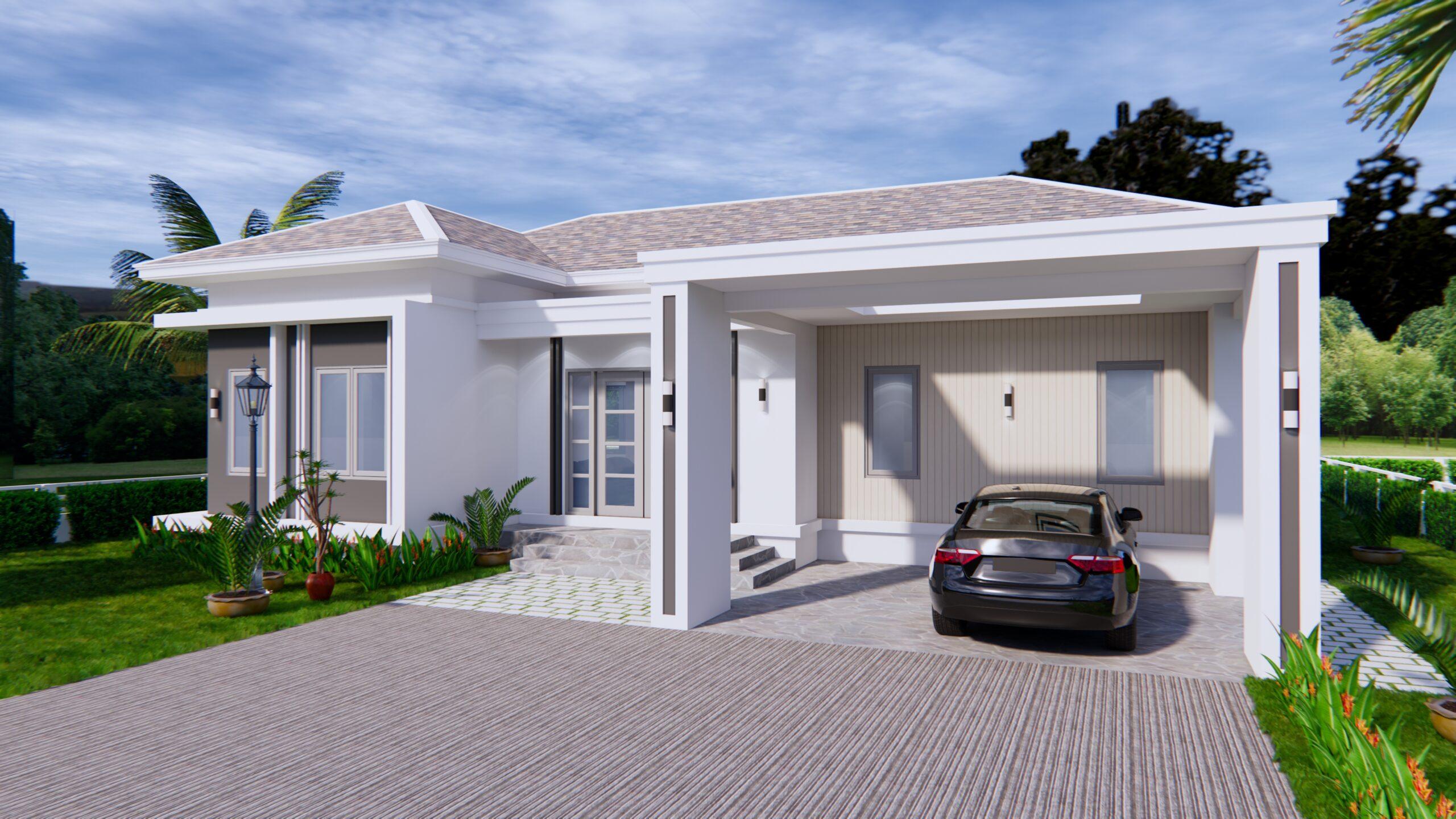 House Plans 14x11 Meter 46x36 Feet 3 Beds 2