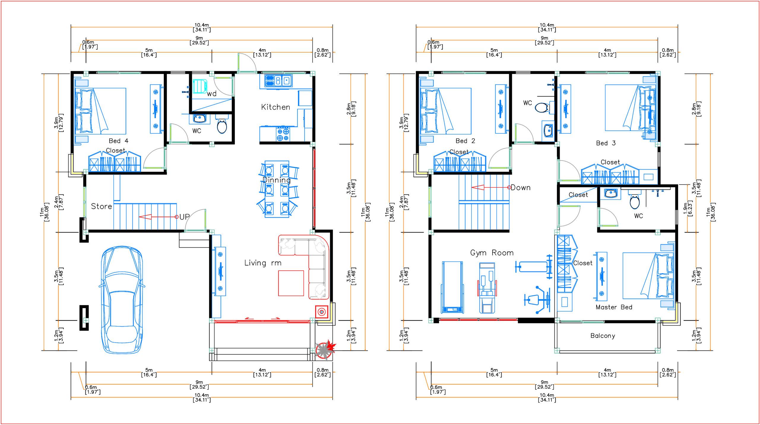 House Plans 9x11 Meter 30x36 Feet 4 Beds Layout floor plan