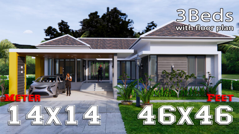 House Plans with Pool 14x14 Meter 46x46 Feet 3 Beds