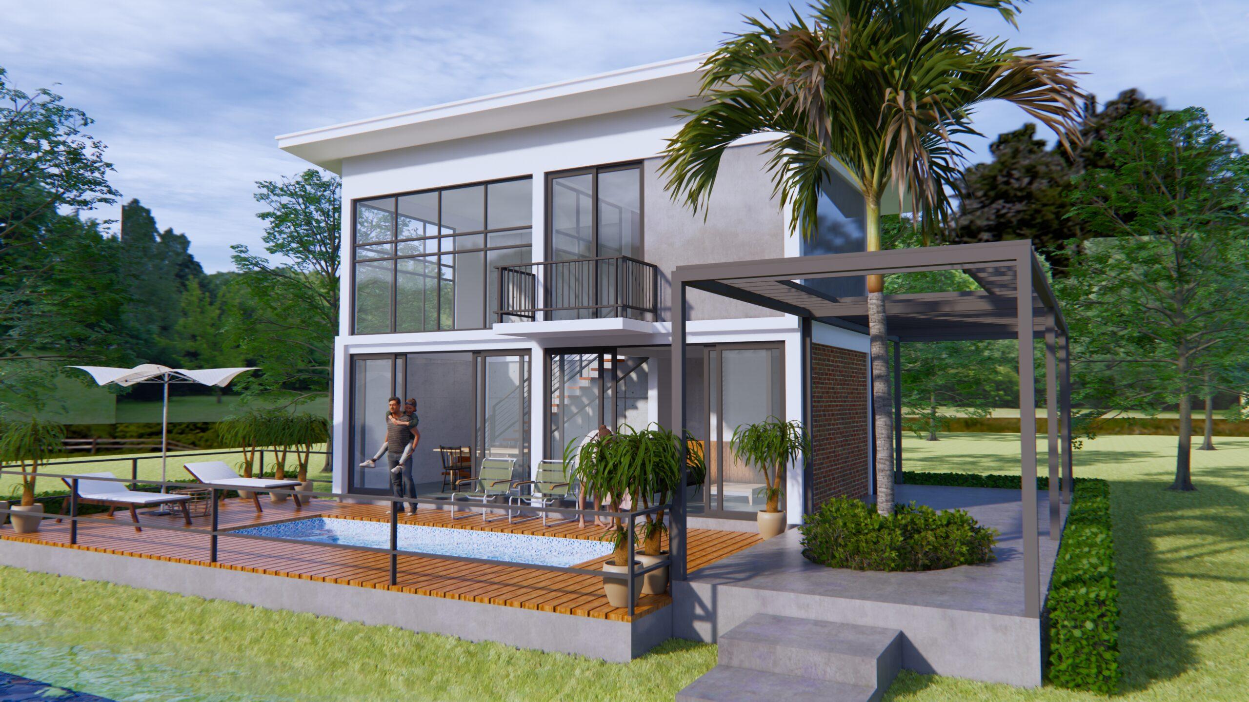 Lake House Plans 13x11 Meter 44x36 Feet 5