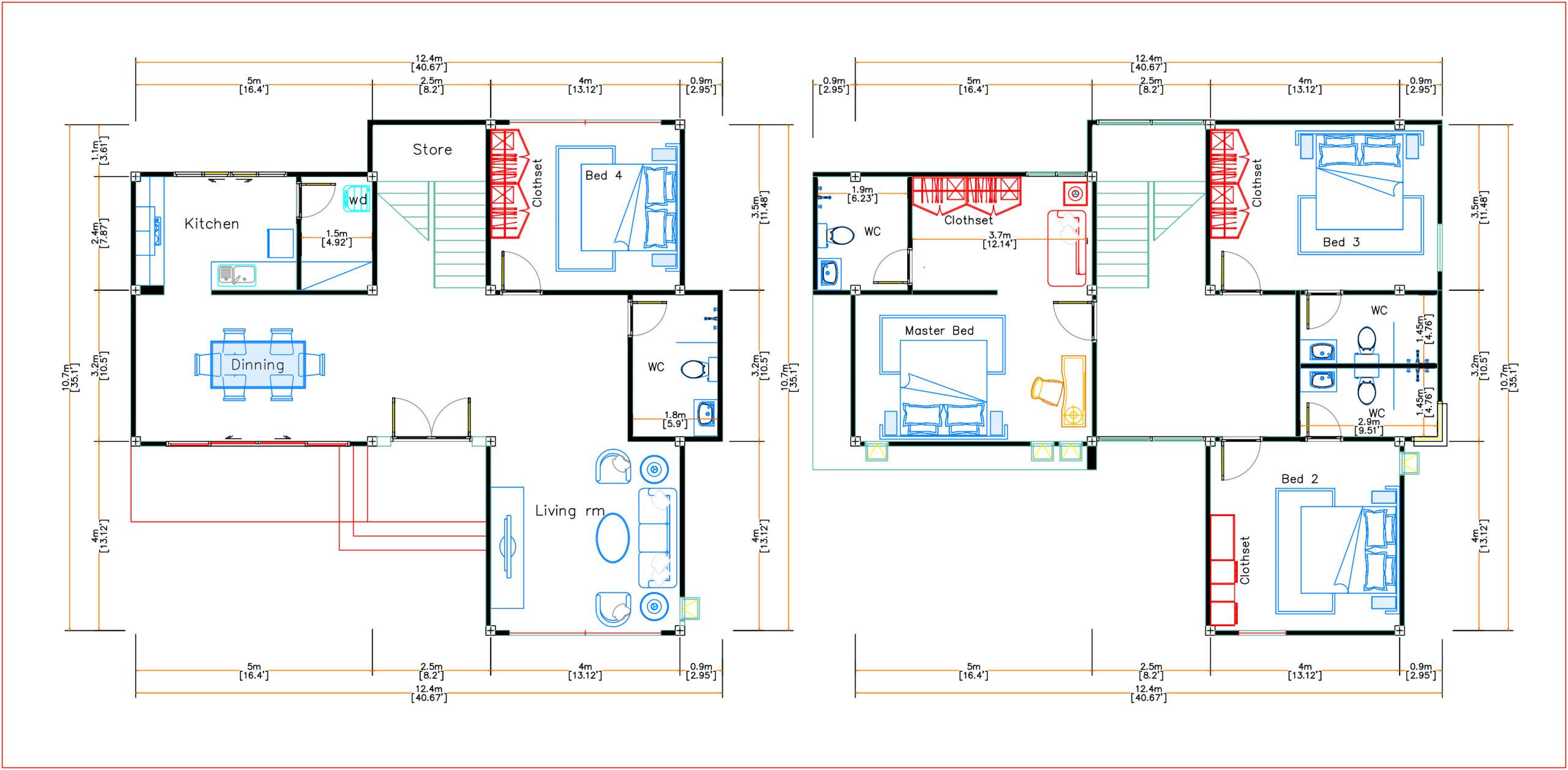 House Plans 12.4x11 Meter 41x35 Feet 4 Beds