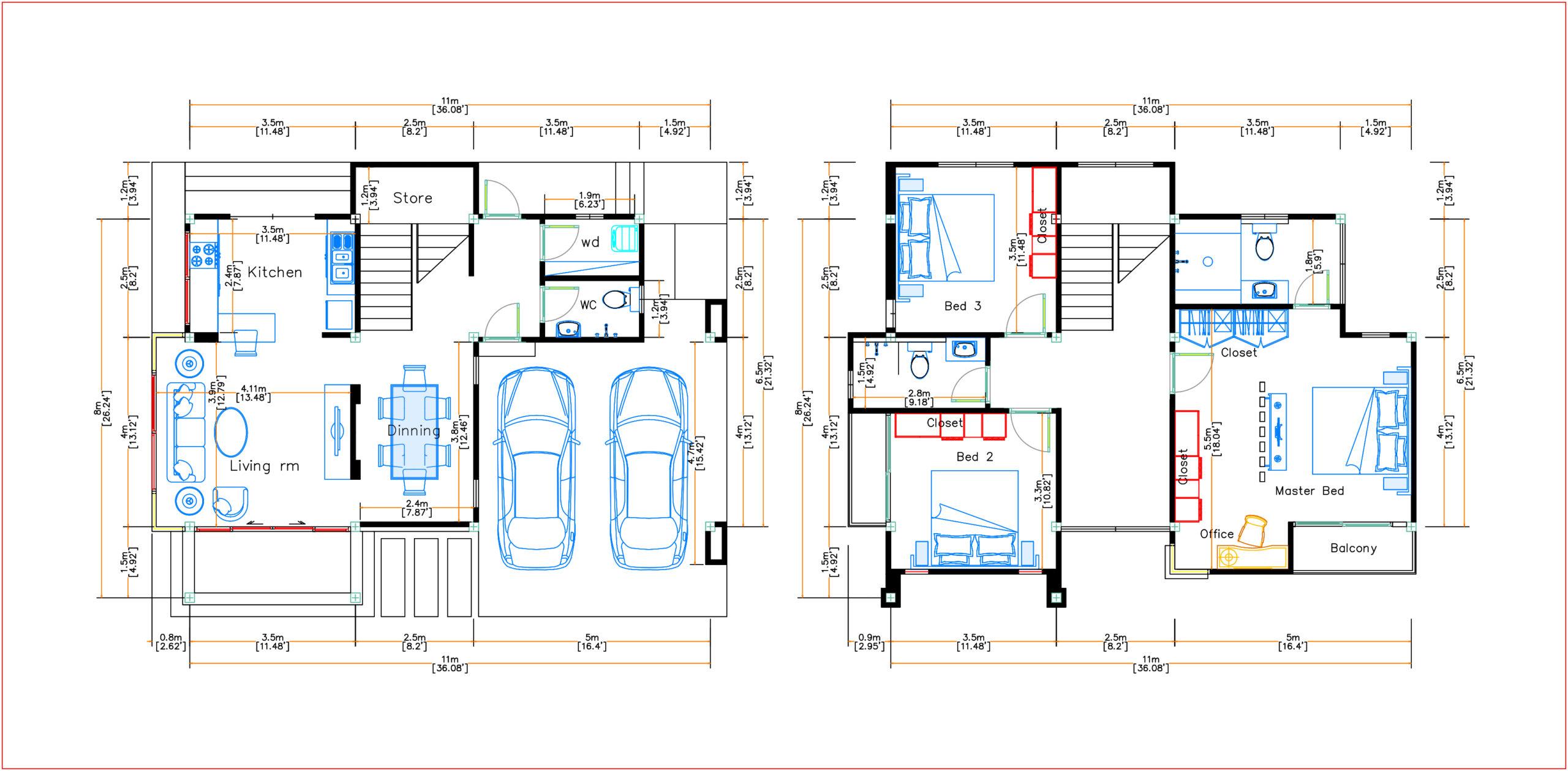 Home Plans 11x8 Meter 36x26 Feet 3 Beds layout floor plan
