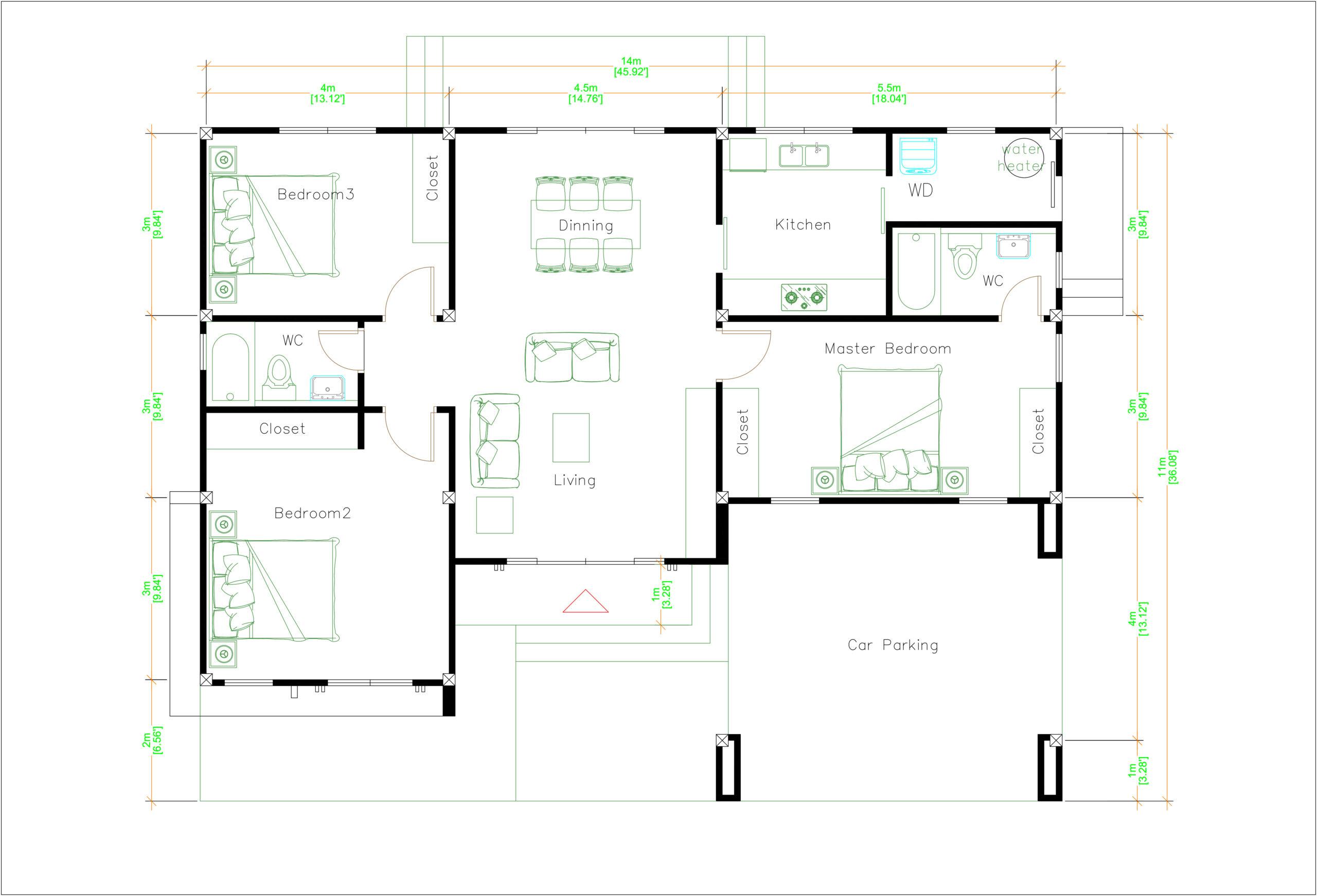 House Plans 14x11 Meter 46x36 Feet 3 Beds layout floor plan