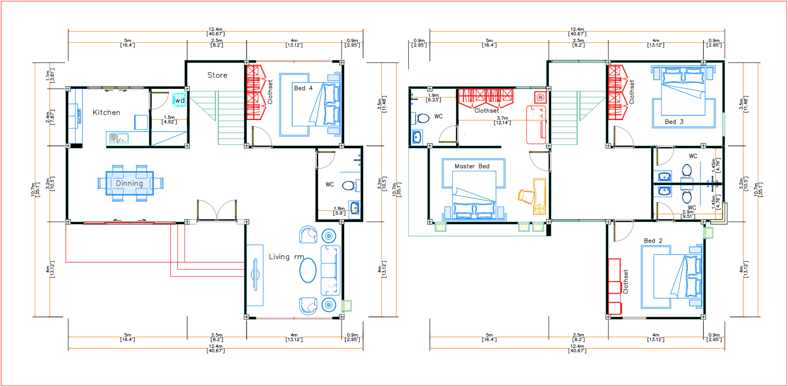House Design 12.4x11 Meter 41x35 Feet 4 Beds layout floor plan