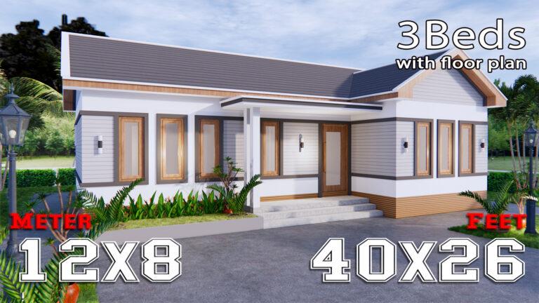 Luxury House Plans 12x8 Meters 40x26 Feet 3 Beds