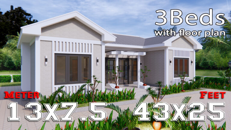 Modern Architecture Homes 13x7.5 Meter 43x25 Feet 3 Beds