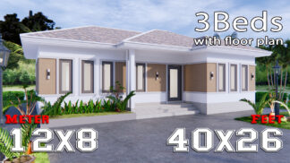 Modern Farmhouse Designs 12x8 Meters 40x26 Feet 3 Beds