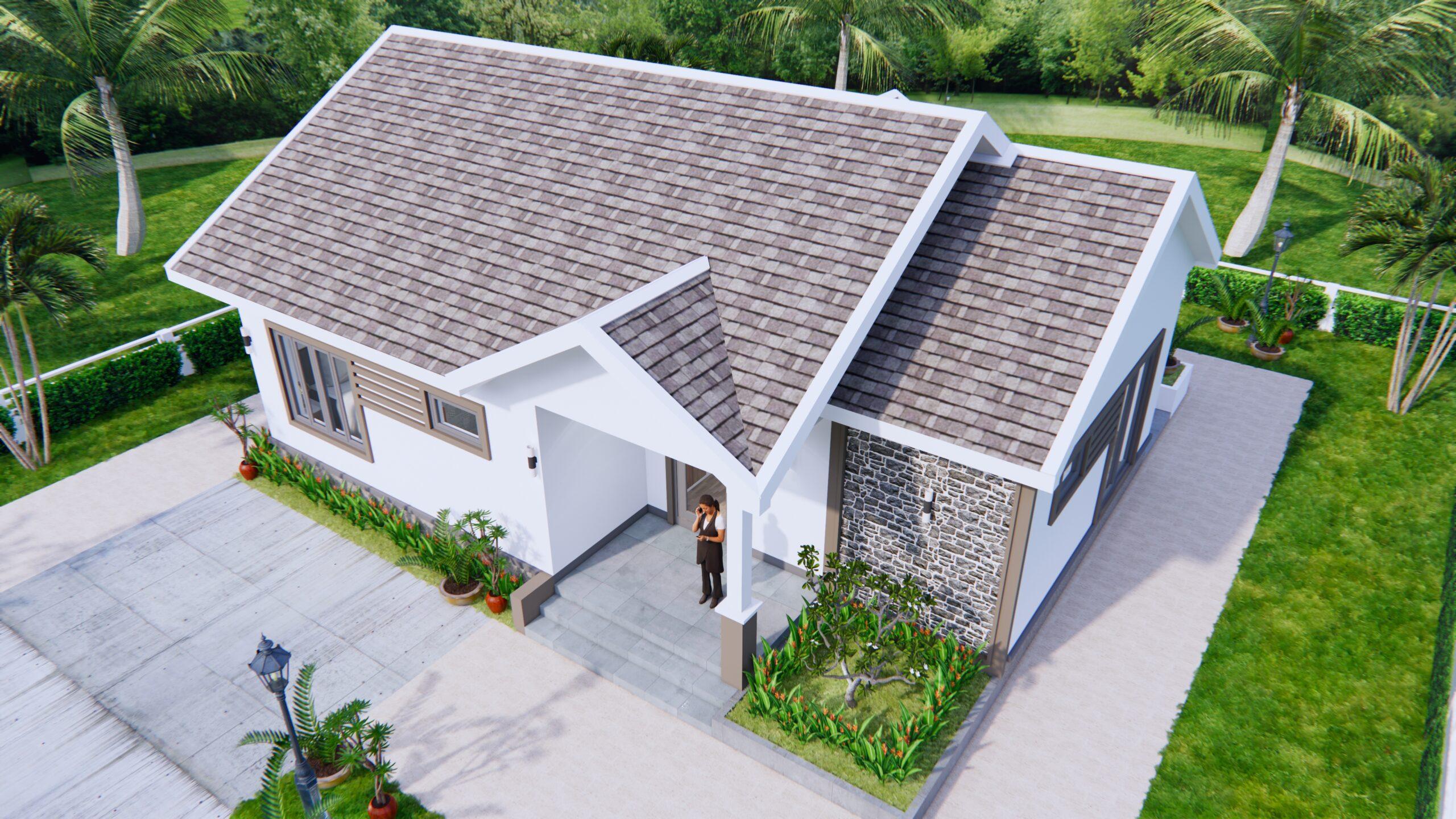 Modern House Drawing 12x9 Meter 40x30 Feet 2 Beds 4