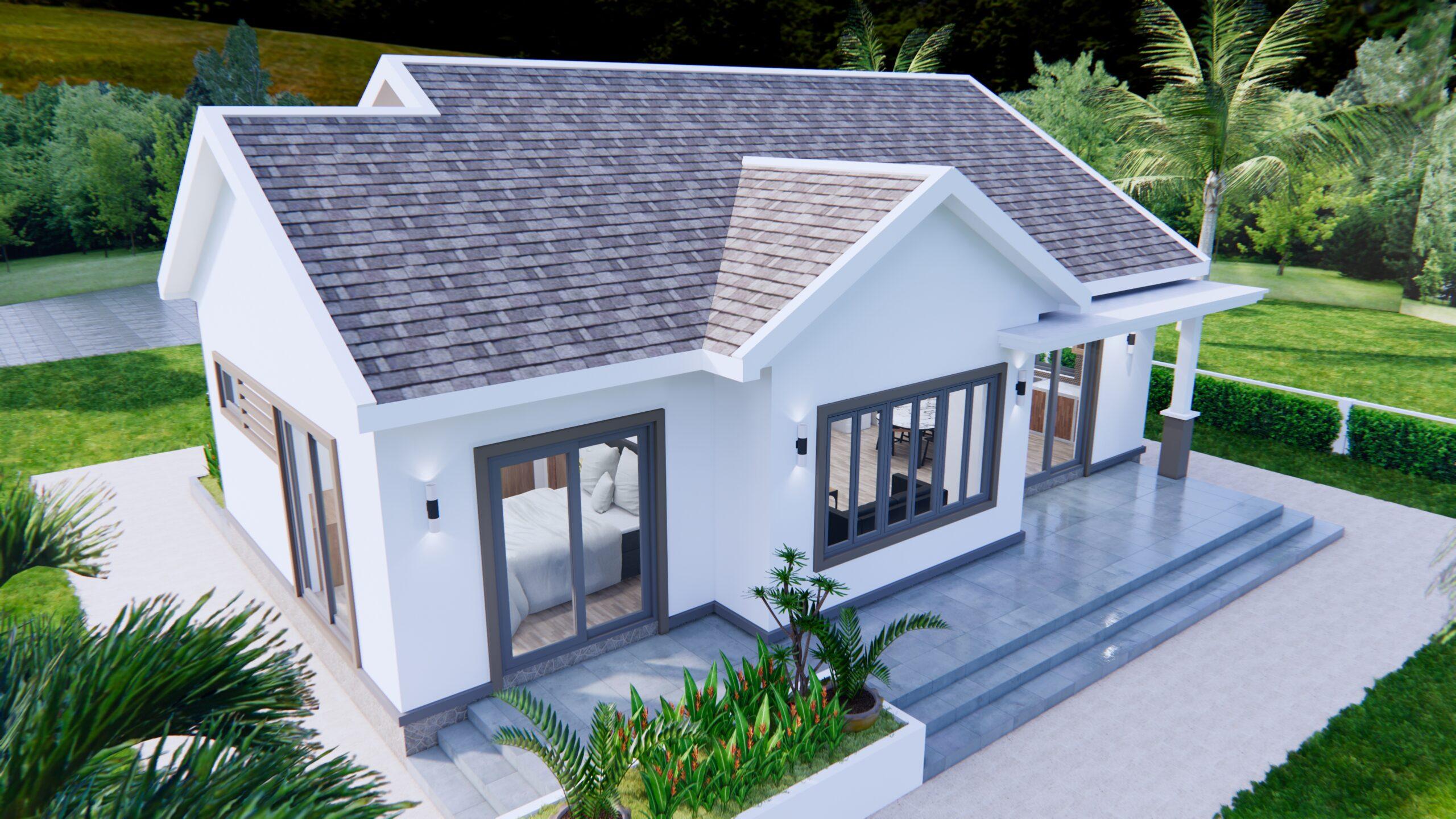 Modern House Drawing 12x9 Meter 40x30 Feet 2 Beds 5