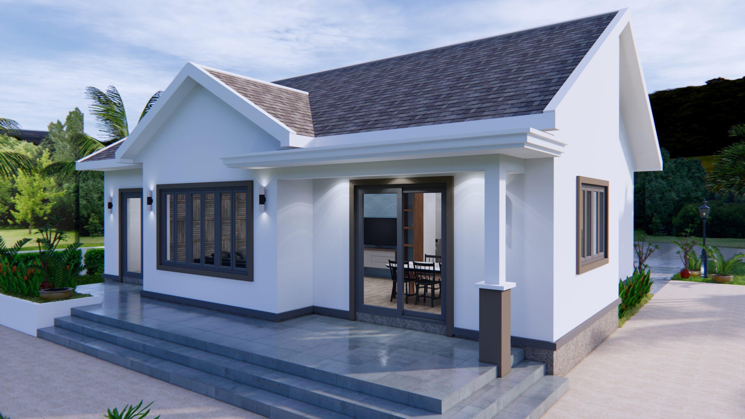 Modern House Drawing 12x9 Meter 40x30 Feet 2 Beds 6