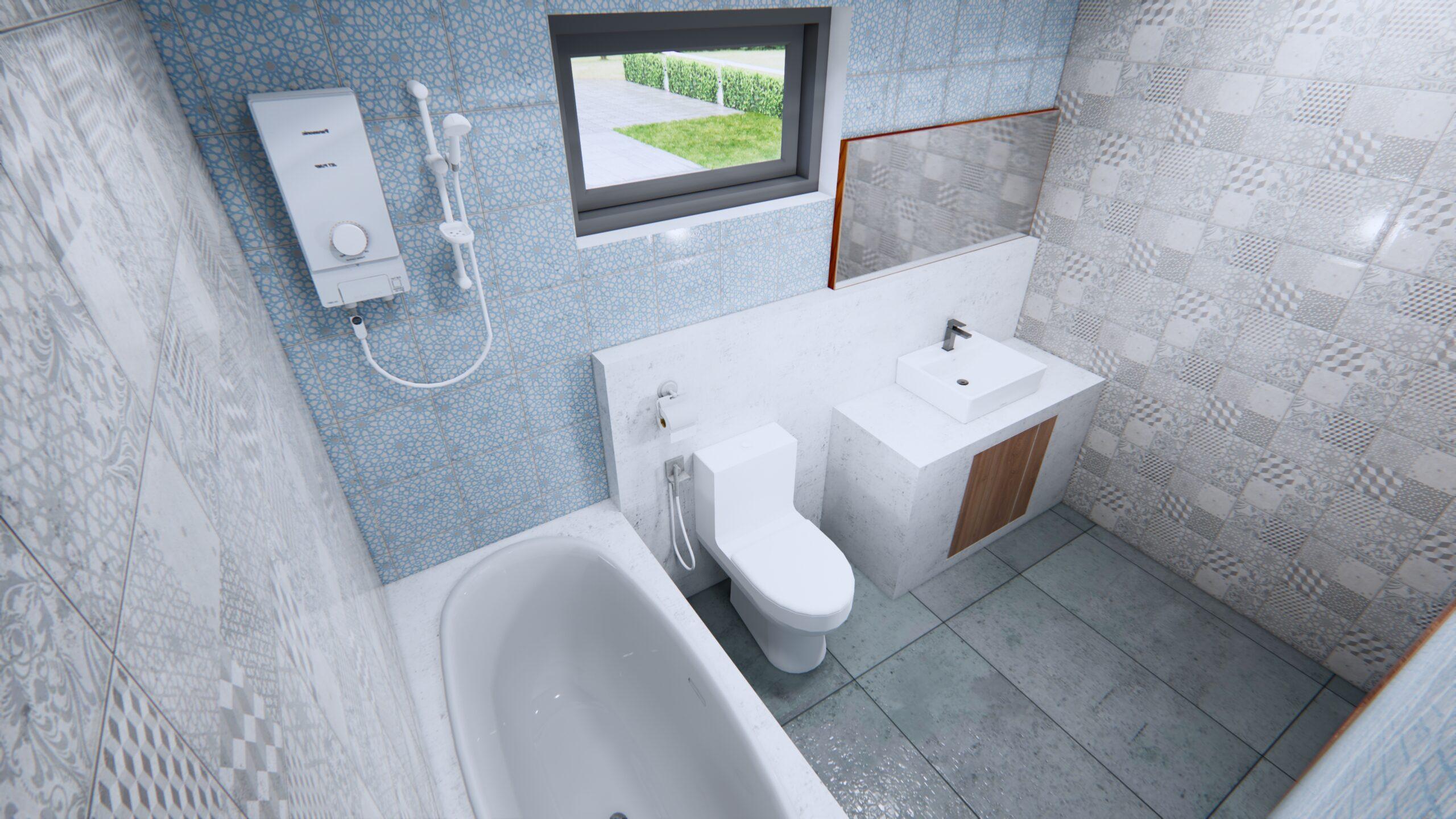 Modern House Drawing 12x9 Meter 40x30 Feet 2 Beds Bathroom 2