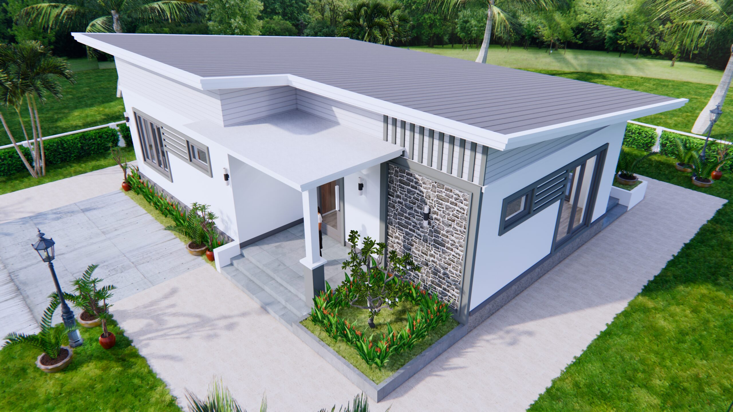 One Storey Building 12x9 Meter 40x30 Feet 2 Beds 5