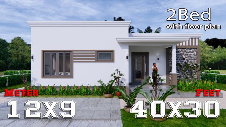 Online House Design 12x9 Meter 40x30 Feet 2 Beds