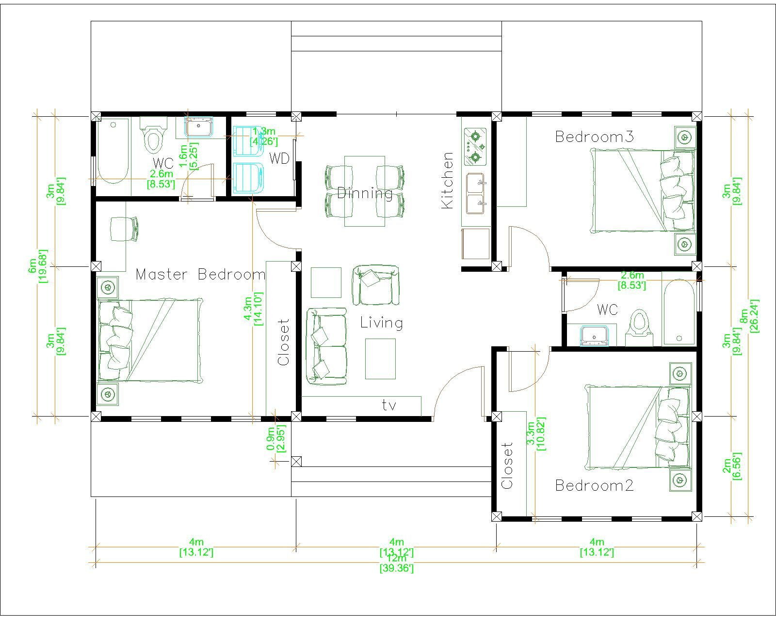 Modern Farmhouse Designs 12x8 Meters 40x26 Feet Layout floor plan
