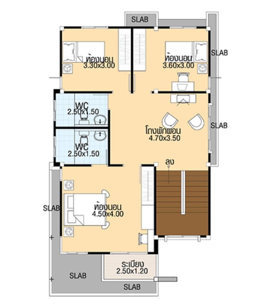 House Designs 7.5x13 meter with 4 bedrooms floor plan first floor