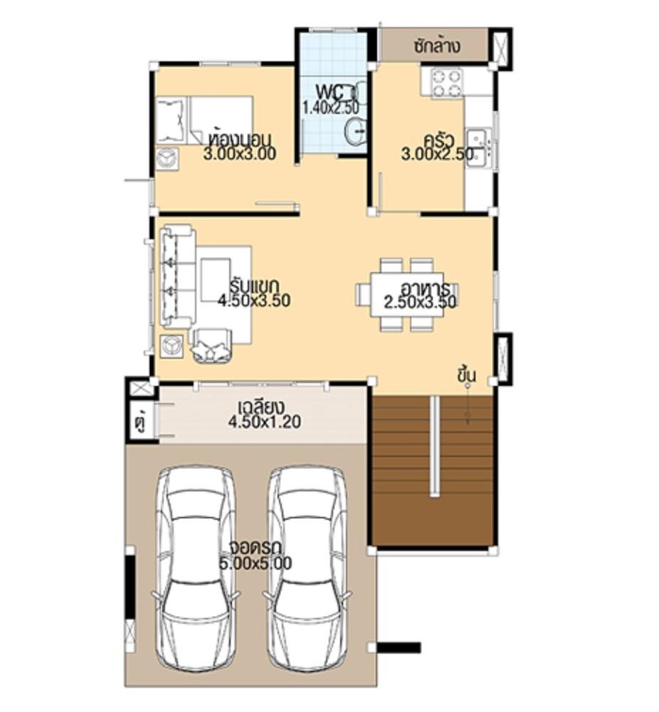 House Designs 7.5x13 meter with 4 bedrooms floor plan ground floor
