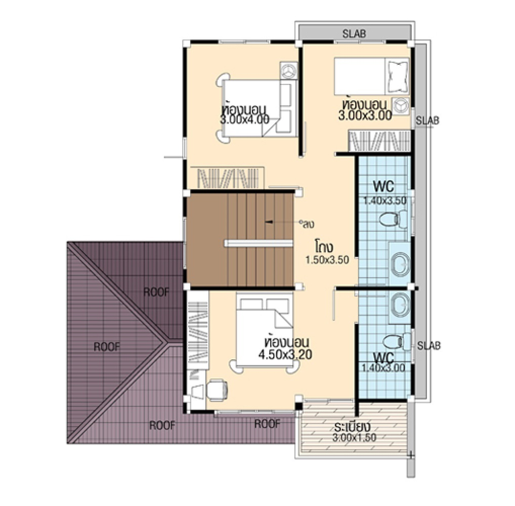 Simple House Design 8.5x12 with 4 bedrooms first floor plan