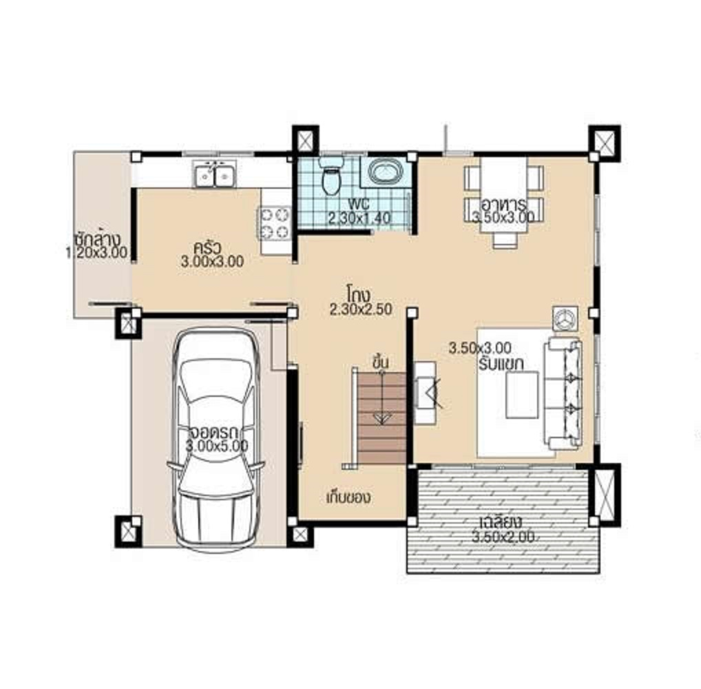 Simple House Plans 8.8x8 with 4 Bedrooms ground floor plans