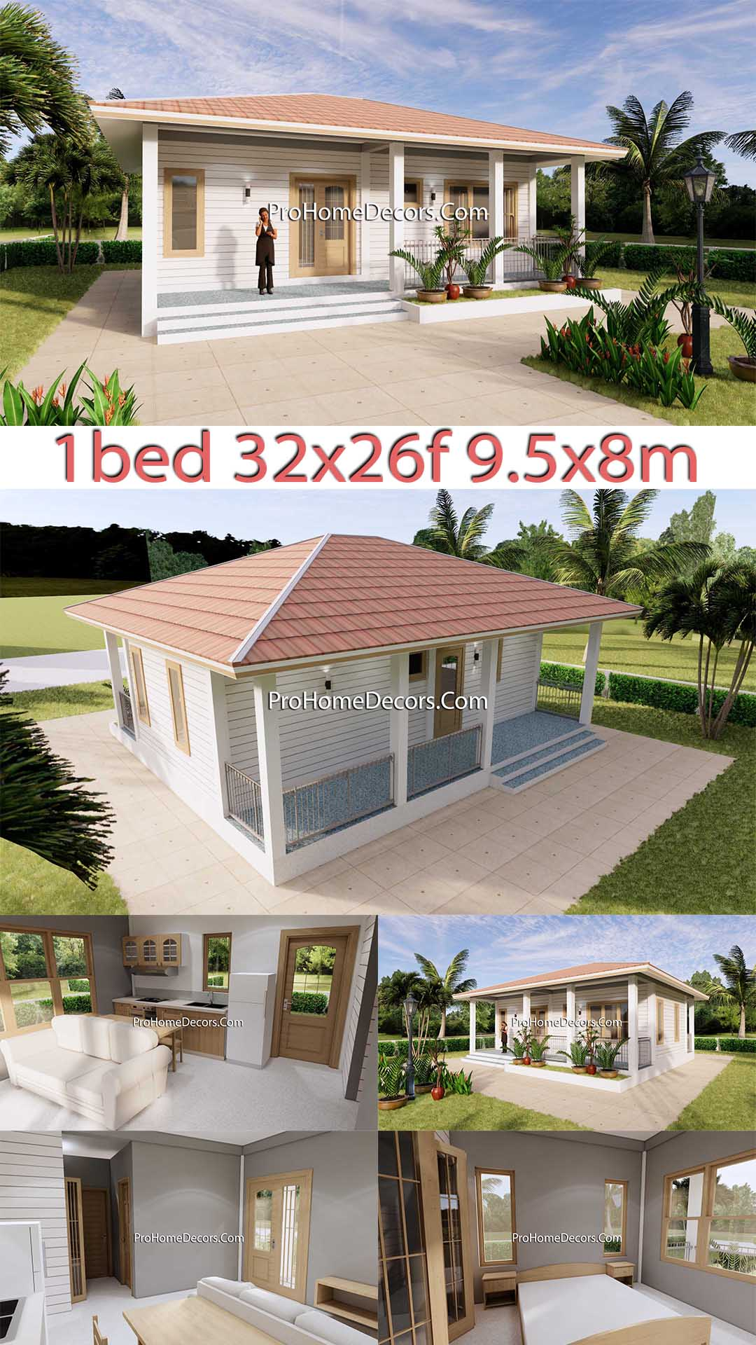 House Plans 32x16 with 1 Bedroom PDF Floor Plan p1