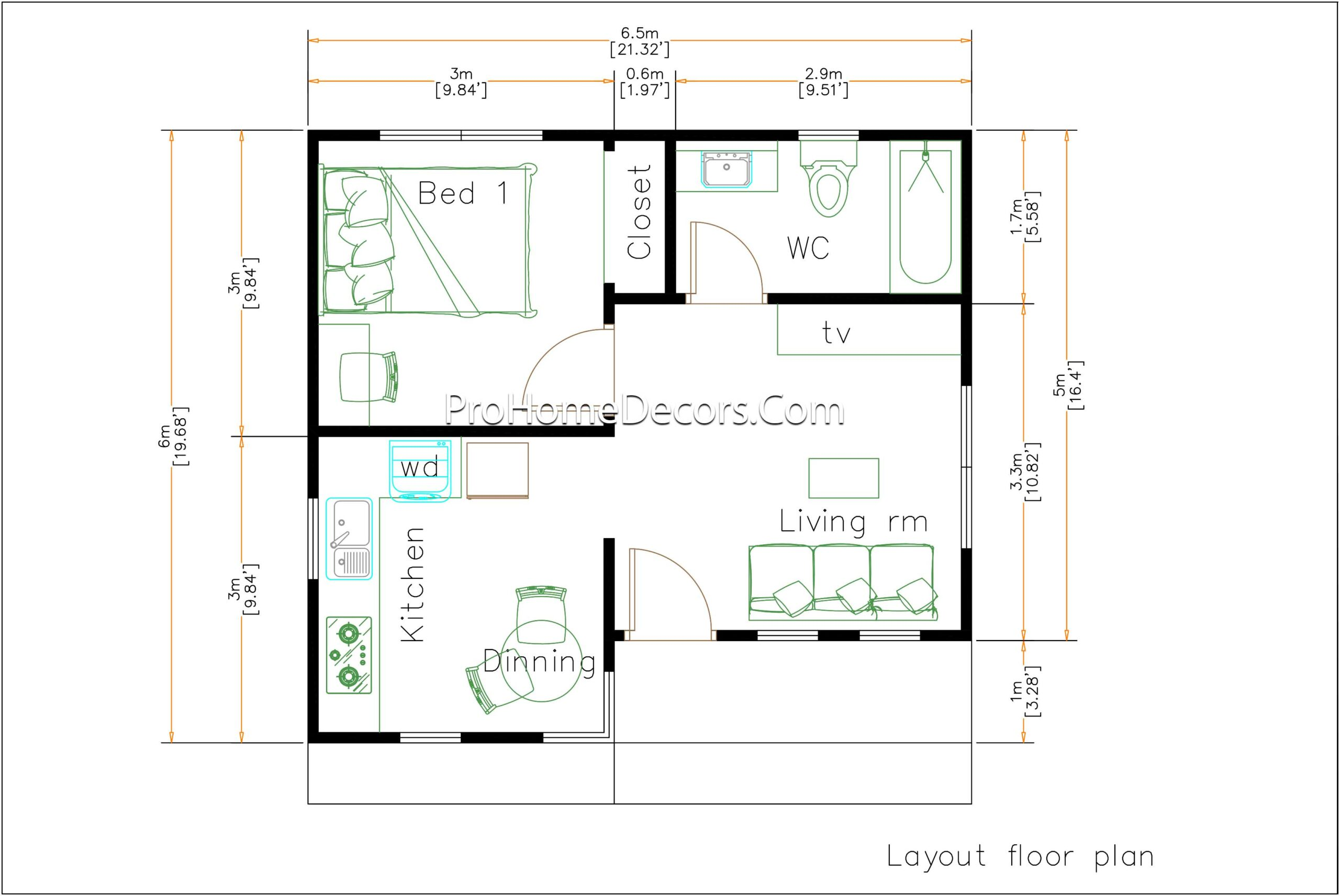Small House Plans 6.5x6 Meter floor plan