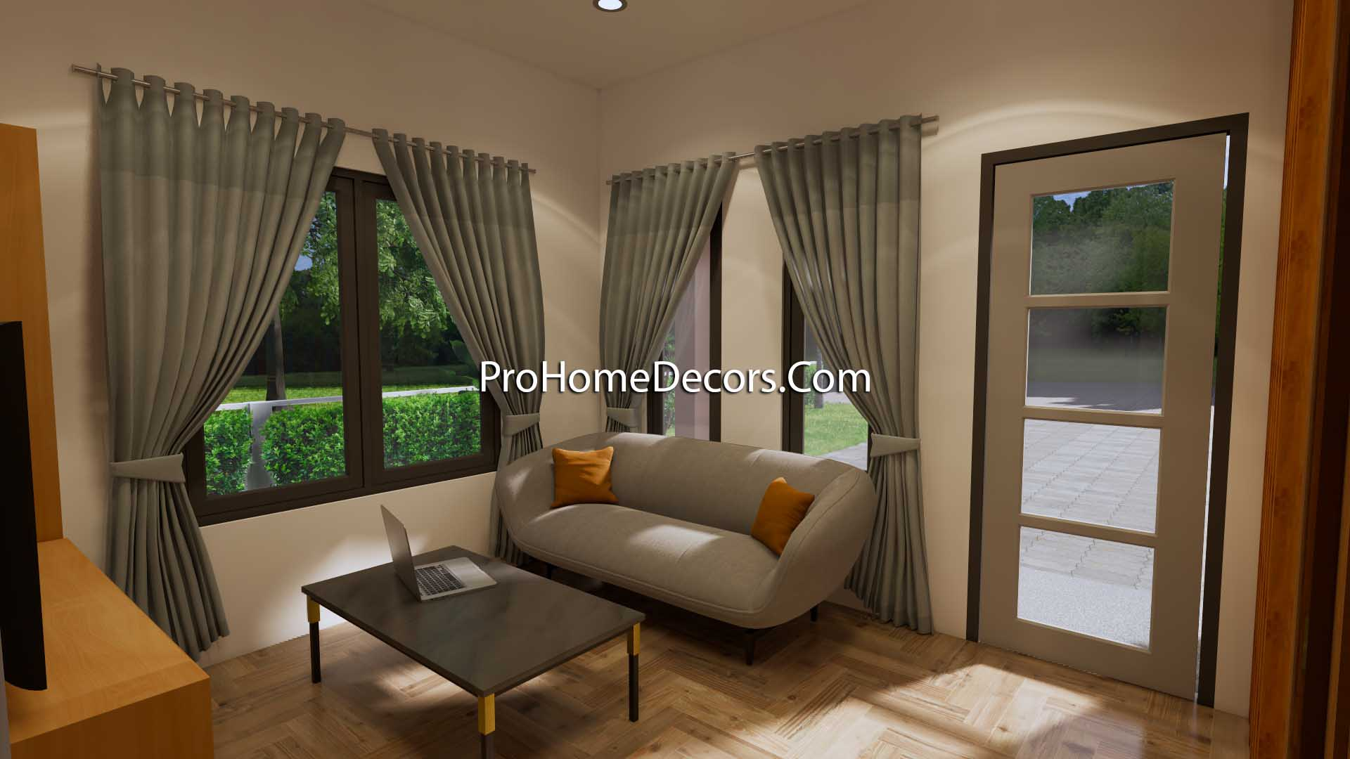 Small Home Design 6.5x6 Meter 22x20 Feet Hip Roof Living room 3