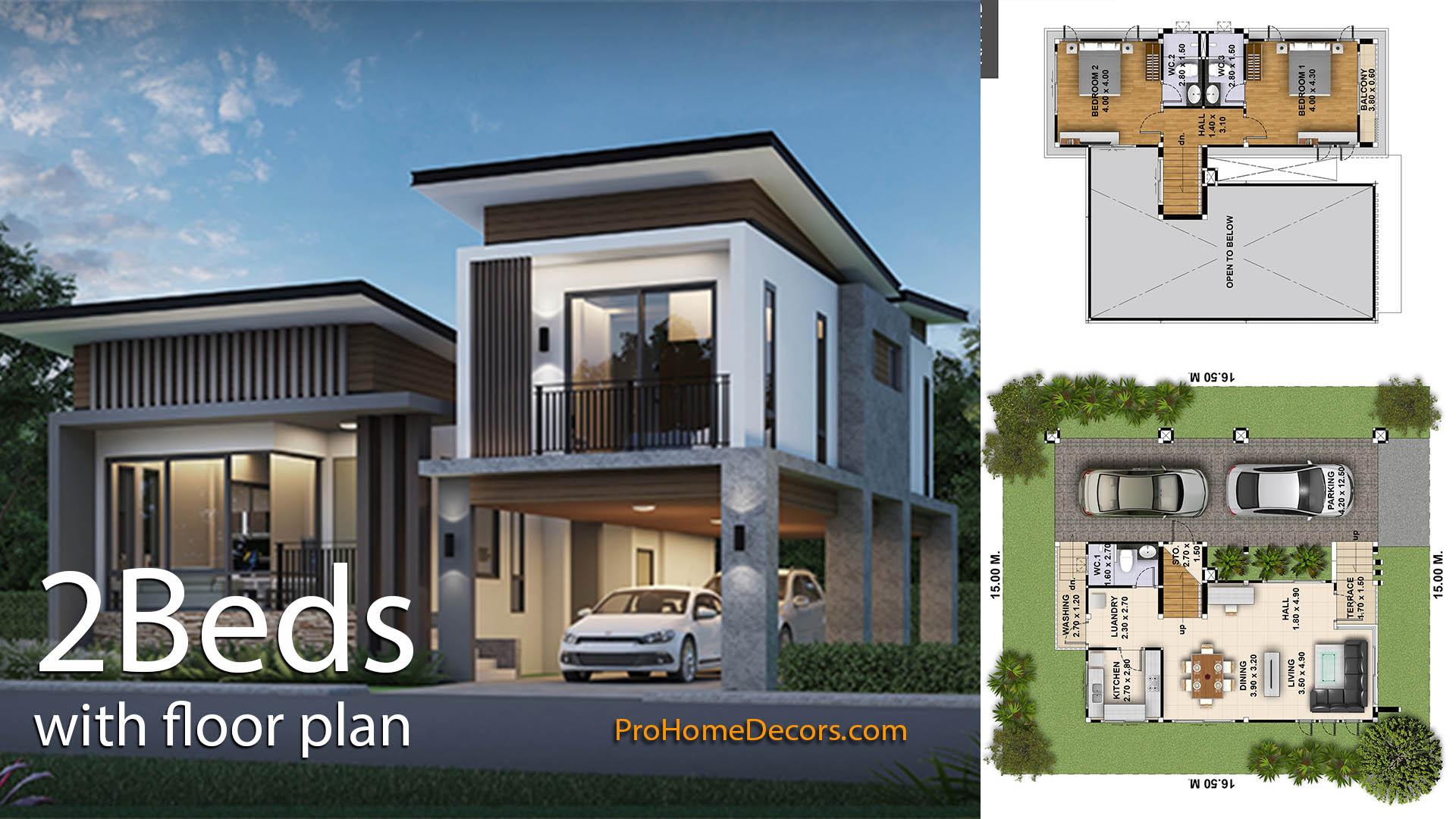 2 Bedrooms House Plot 15×16.5 Meter