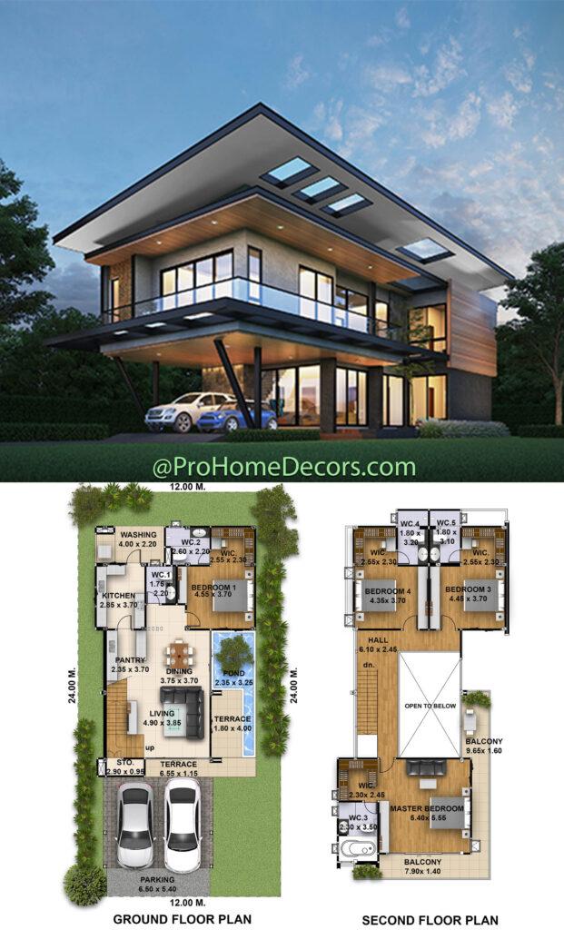 4 Bedrooms House Plans Plot 12x24 Meters
