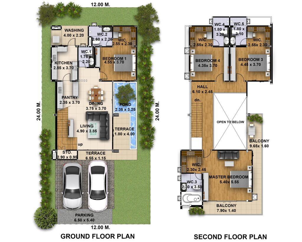4 Bedrooms House Plans Plot 12x24 Meters layout floor plan