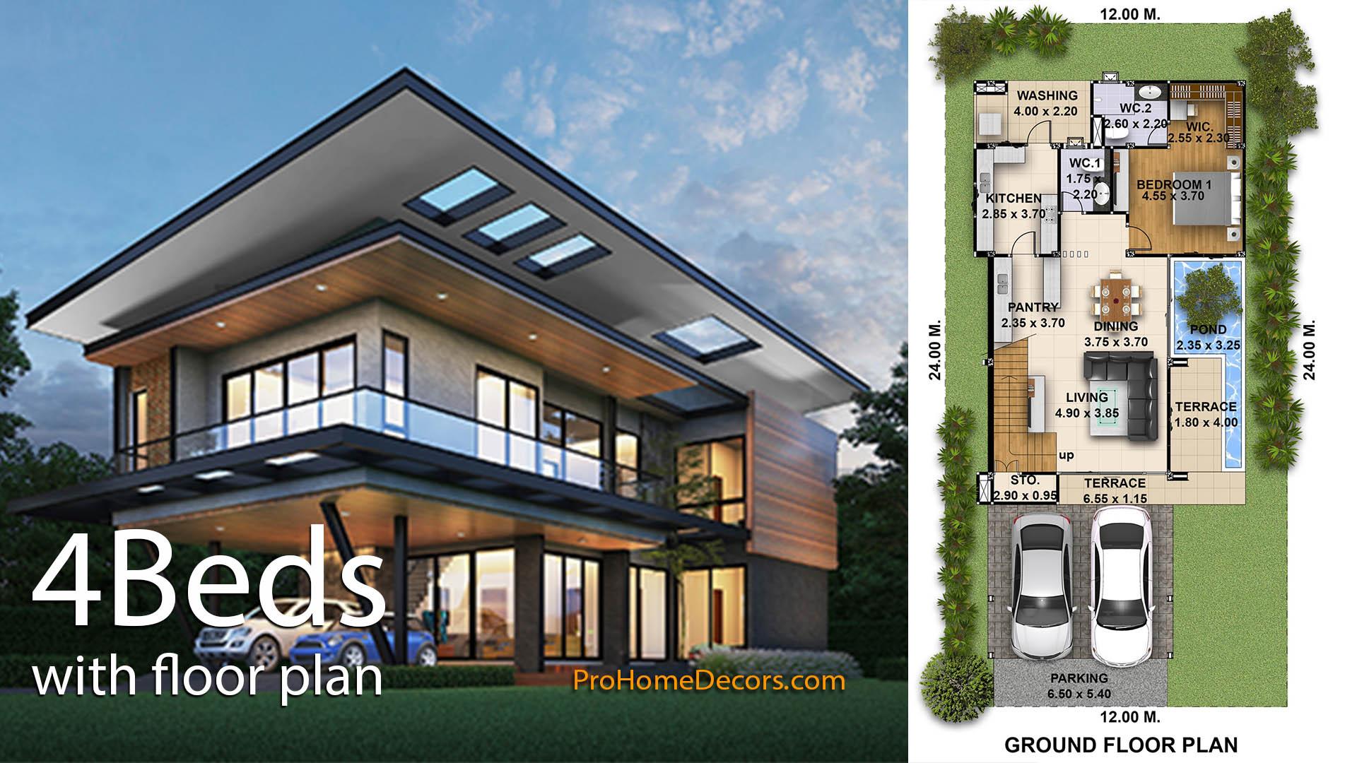 4 Bedrooms House Plans Plot 12×24 Meters