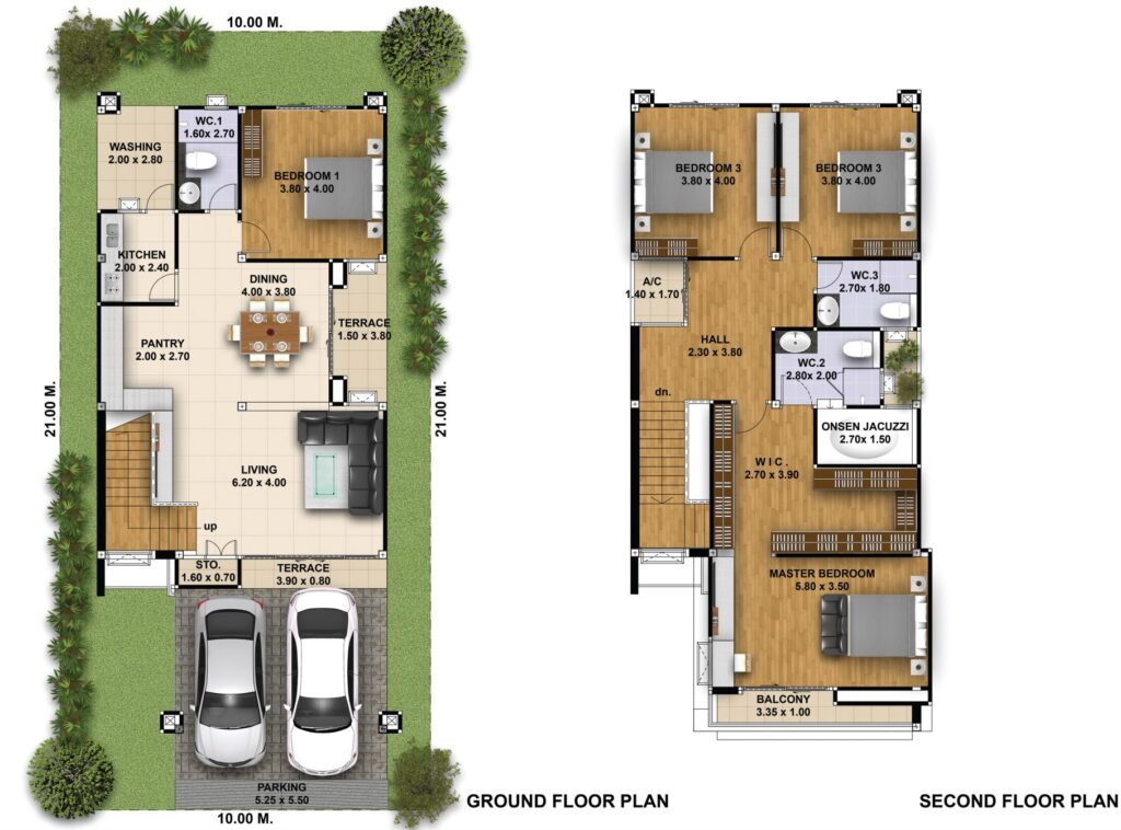 House Design 3d 10x21 with 4 Bedrooms floor plans