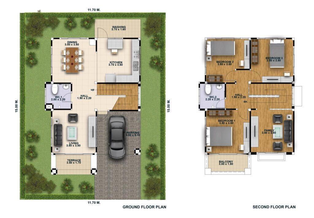 House Design 3d 11x15 with 3 Bedrooms floor plans