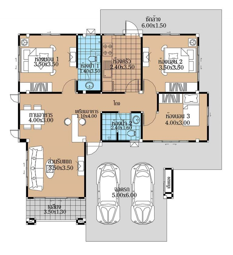 House Plans 12x11.5 with 3 Beds