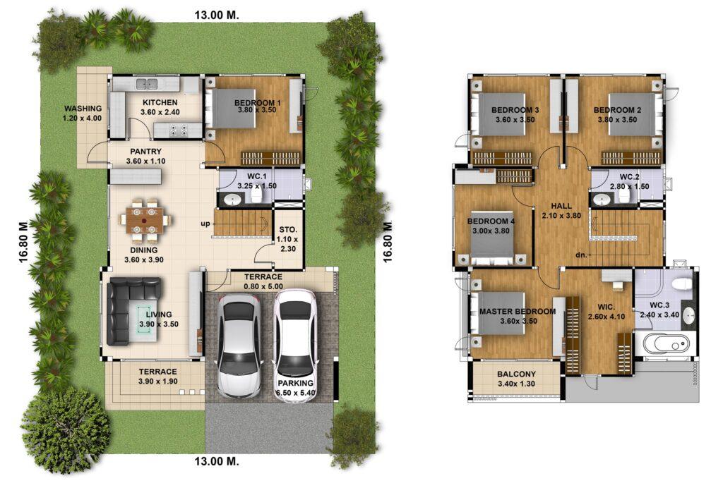 House Plan 3d 13x16 with 5 Bedrooms floor plan