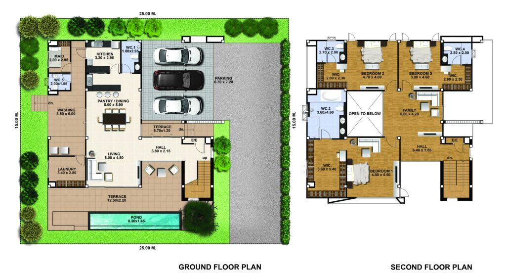 House Design 3d 25x21 with 3 Bedrooms floor plans