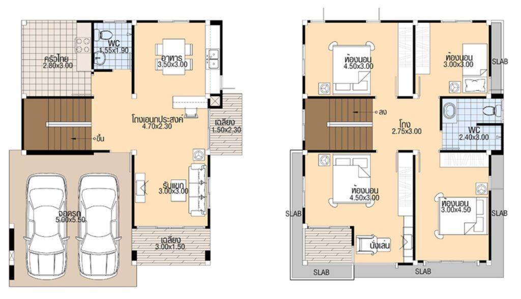 House Design 3d 8x11 with 4 bedrooms floor plan