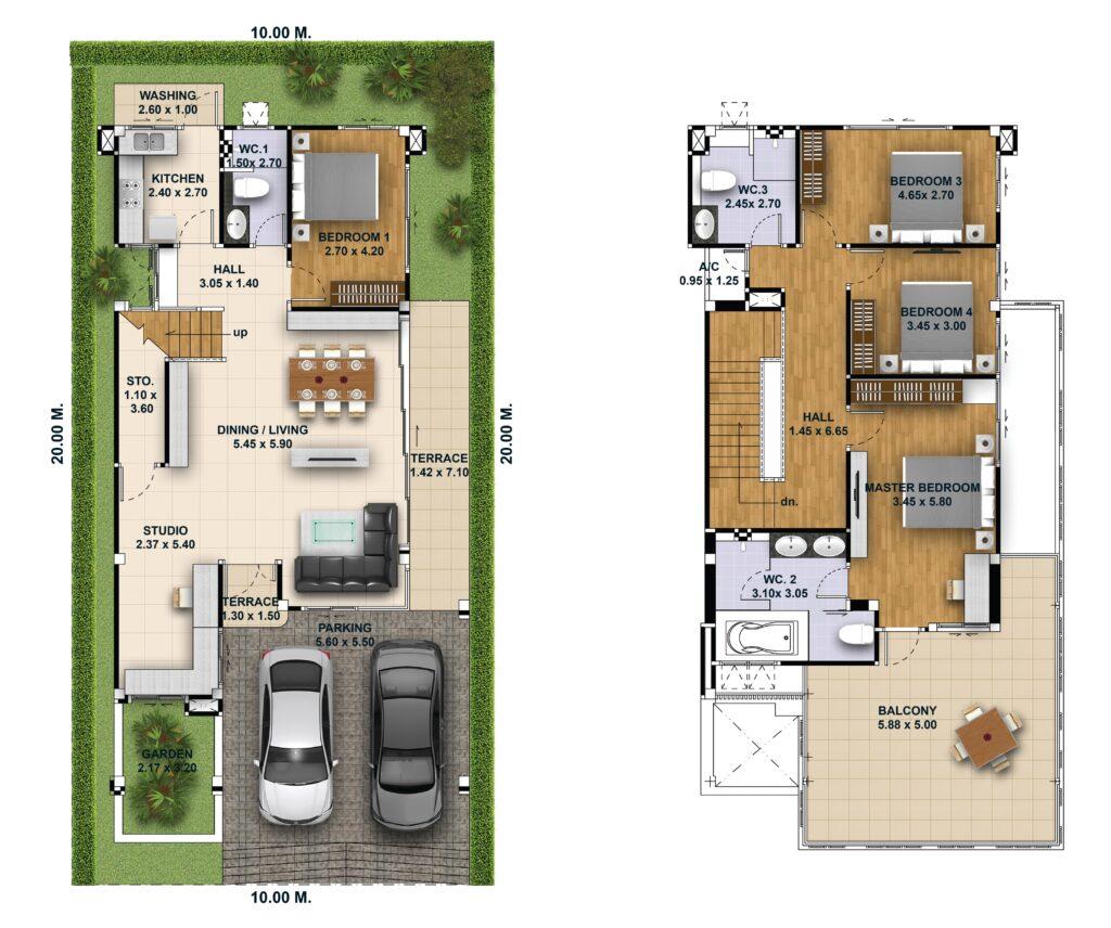 House Design Plot 10x20 with 4 Bedrooms floor plan