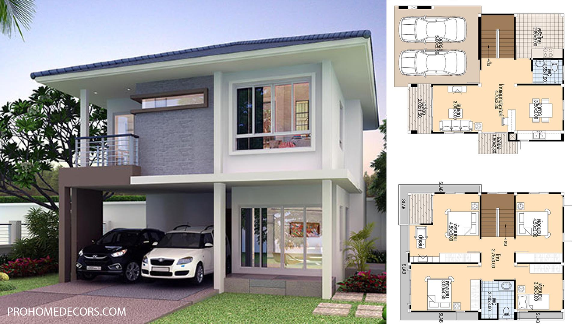 House Design Plans 8×11 with 4 bedrooms