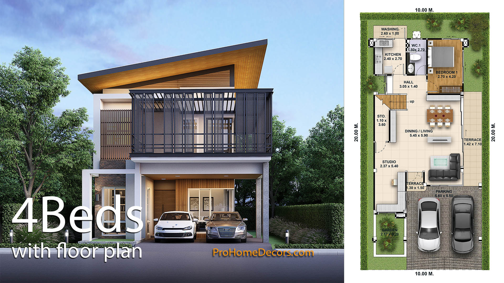 House Design Plot 10×20 with 4 Bedrooms